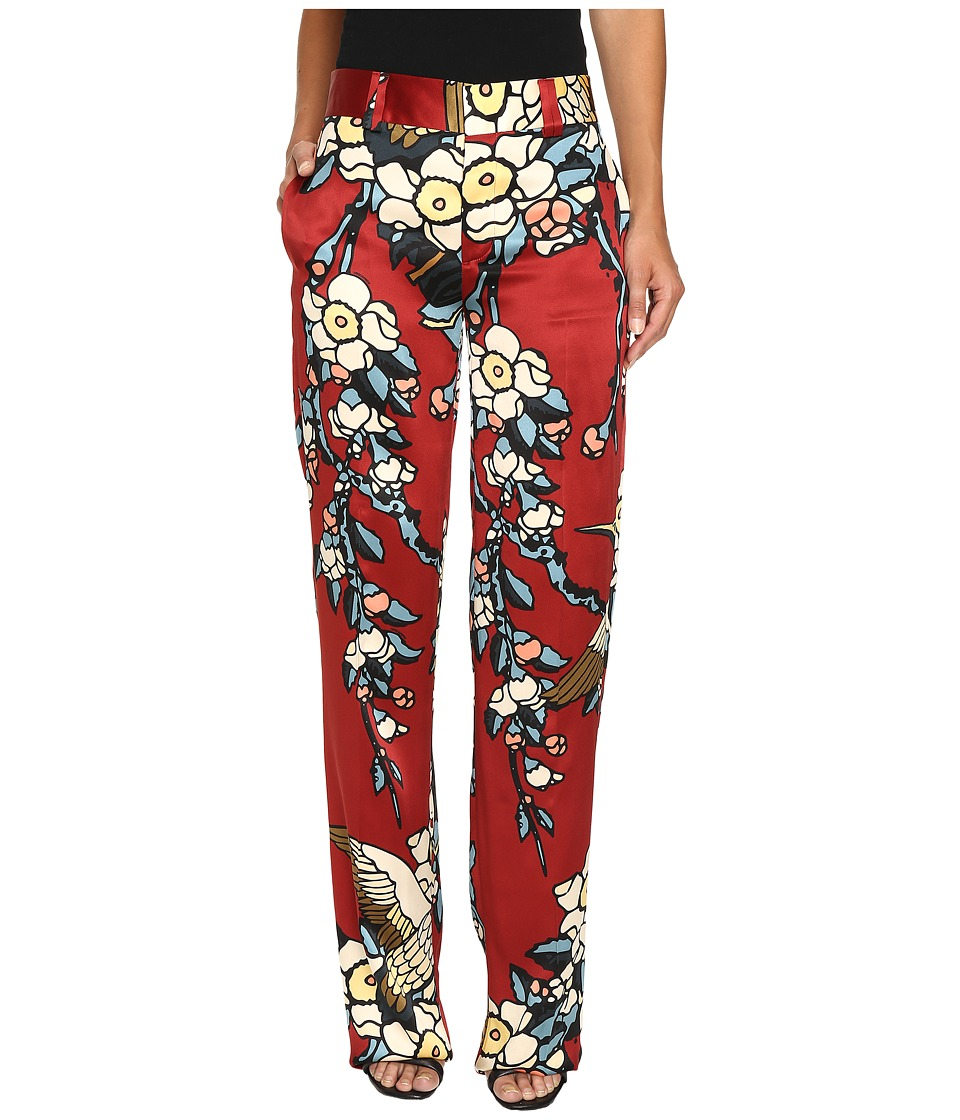 DSQUARED2 - Fantasy Printed Silk Cherry Blossom Silk Mariacarla Pants (Bordeaux) Women's Casual Pants