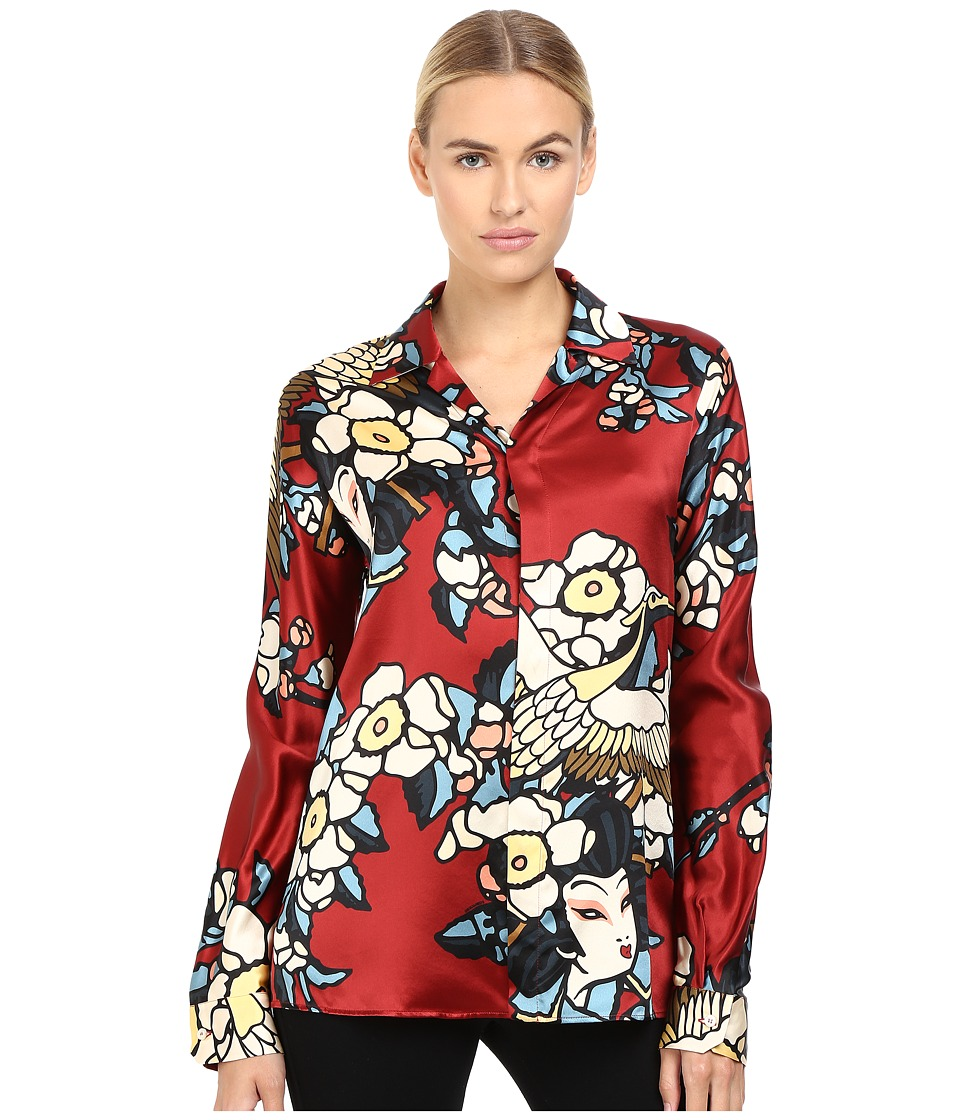 DSQUARED2 - Fantasy Printed Silk Pajama Shirt (Bordeaux) Women's Clothing