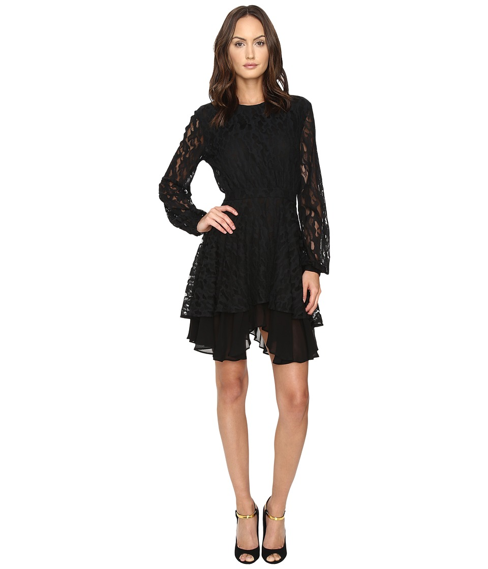 Just Cavalli Leo Lace Long Sleeve Dress Tiered Skirt (Black) Women