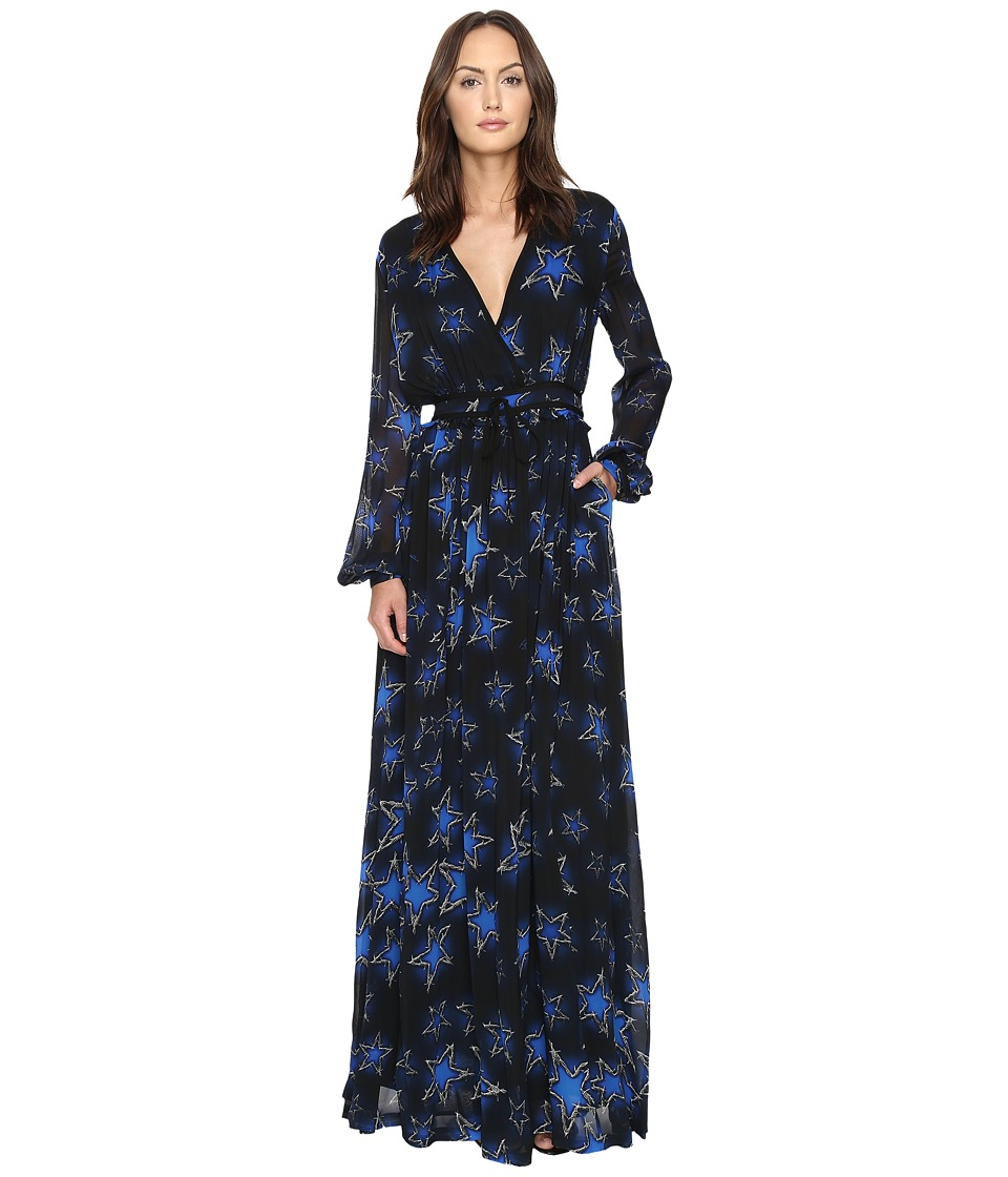 Just Cavalli Military Stars Print Long Sleeve Maxi Dress (Black) Women