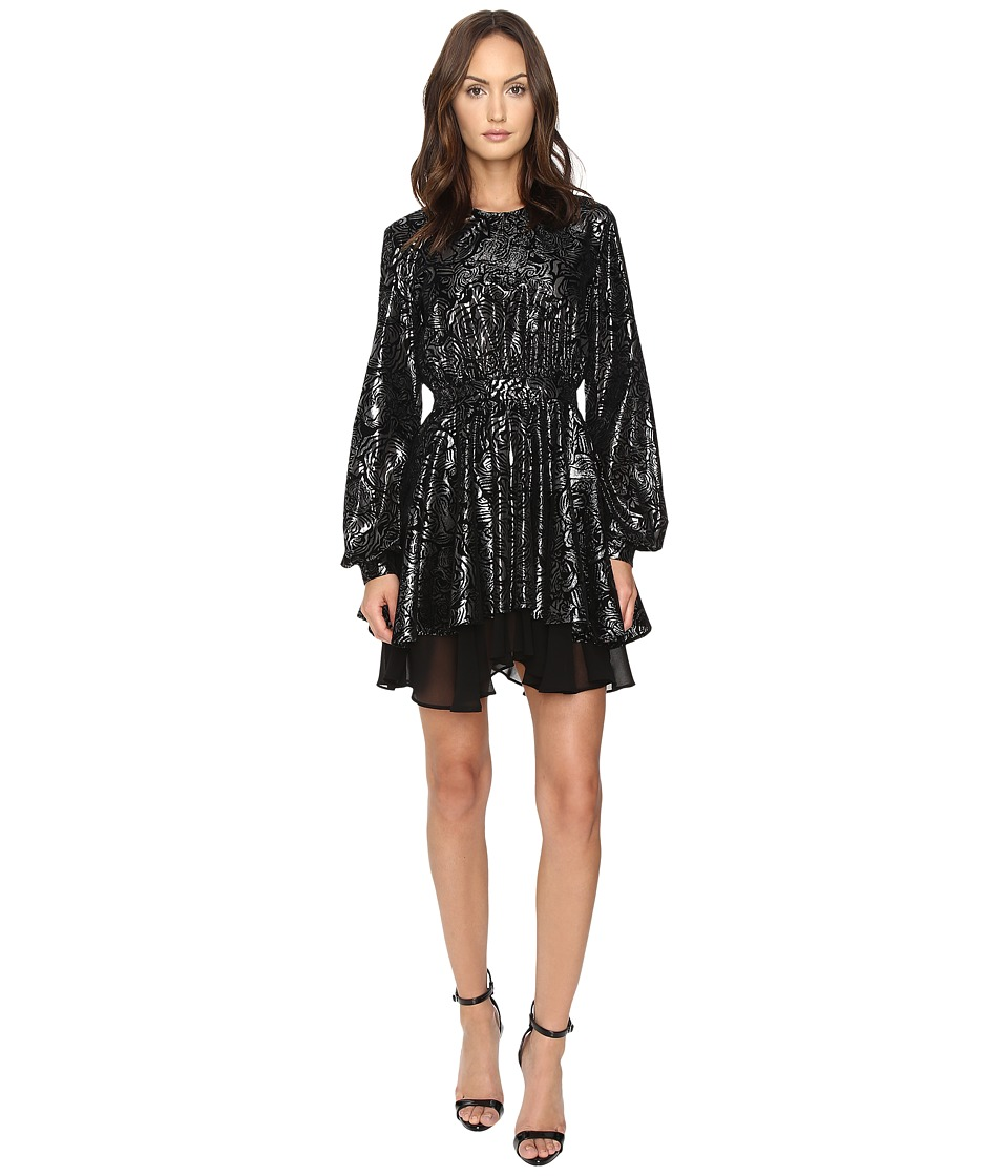 Just Cavalli - Kaliedo Tigers Metallic Flock Long Sleeve Dress (Black) Women's Dress