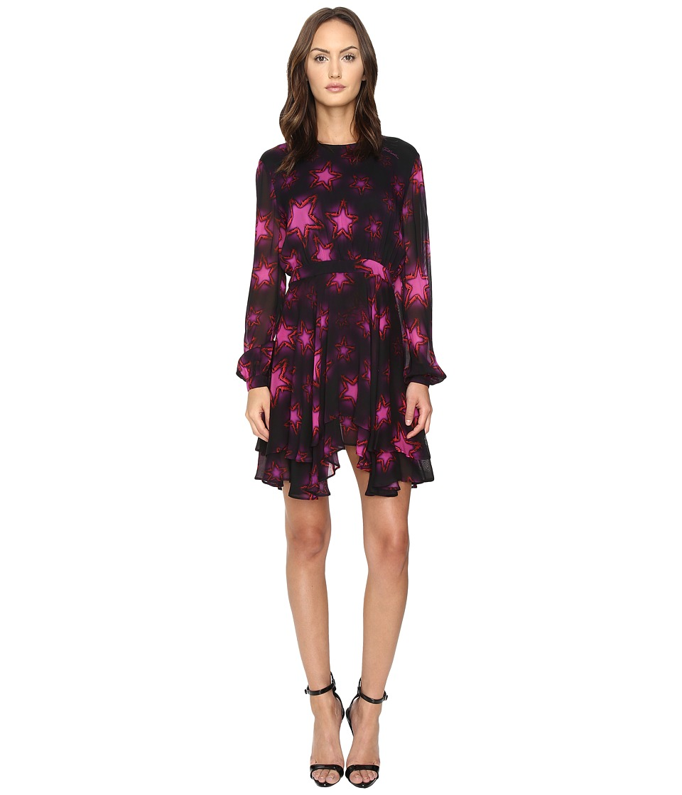 Just Cavalli - Military Stars Print Long Sleeve Dress Tiered Skirt (Magenta) Women's Dress