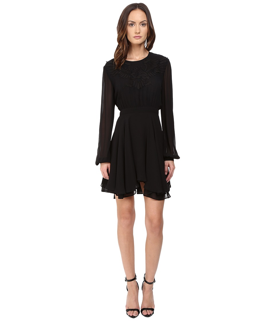 Just Cavalli Pieced Eagle Detail Long Sleeve Solid Dress (Black) Women