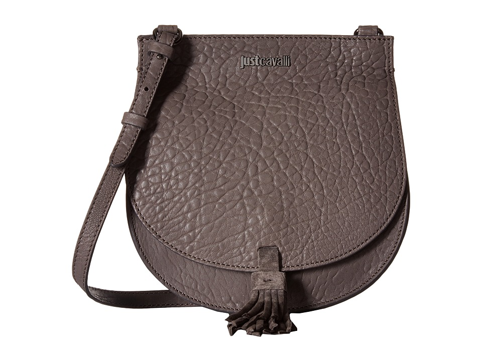 Just Cavalli - Solid Pebbled Calf Skin Saddle Bag (Litium) Cross Body Handbags
