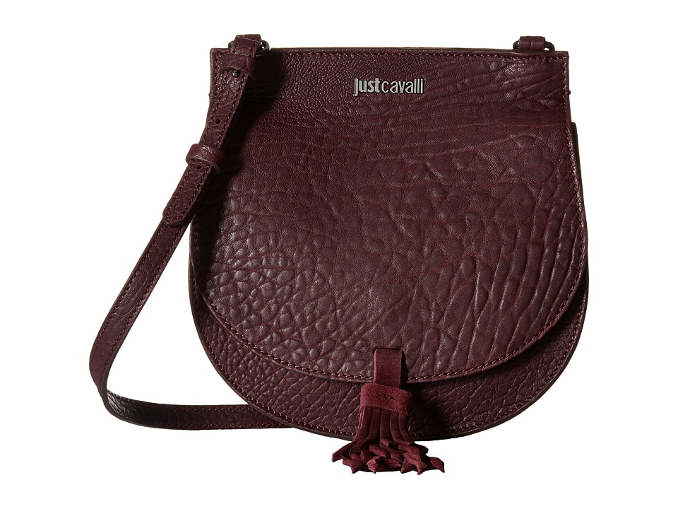 Just Cavalli - Solid Pebbled Calf Skin Saddle Bag (Wine) Cross Body Handbags