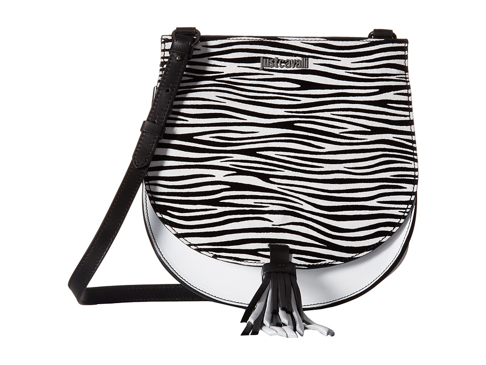 Just Cavalli - Leather/Zebra Suede Saddle Bag (White) Cross Body Handbags