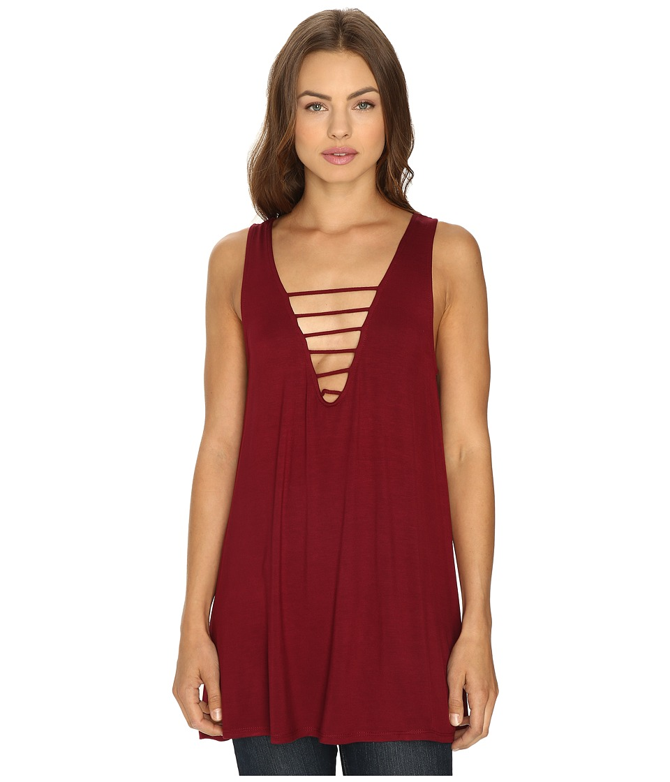 Lucy Love - Cage Swing Top (Oxblood) Women's Dress