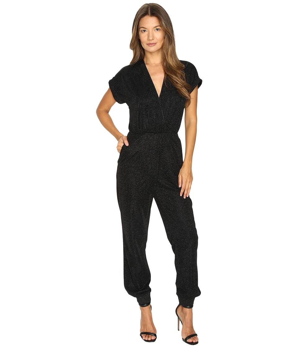 Just Cavalli - Solid Lurex Short Sleeve Jumpsuit (Black) Women's Jumpsuit & Rompers One Piece
