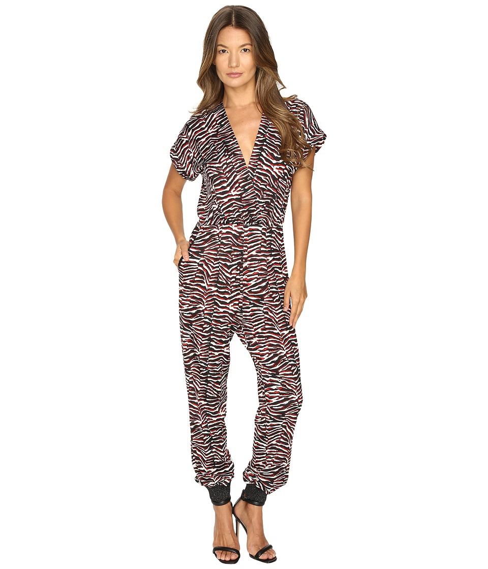 Just Cavalli - Zebra Vibe Print Short Sleeve Jumpsuit (Corallo Red) Women's Jumpsuit & Rompers One Piece