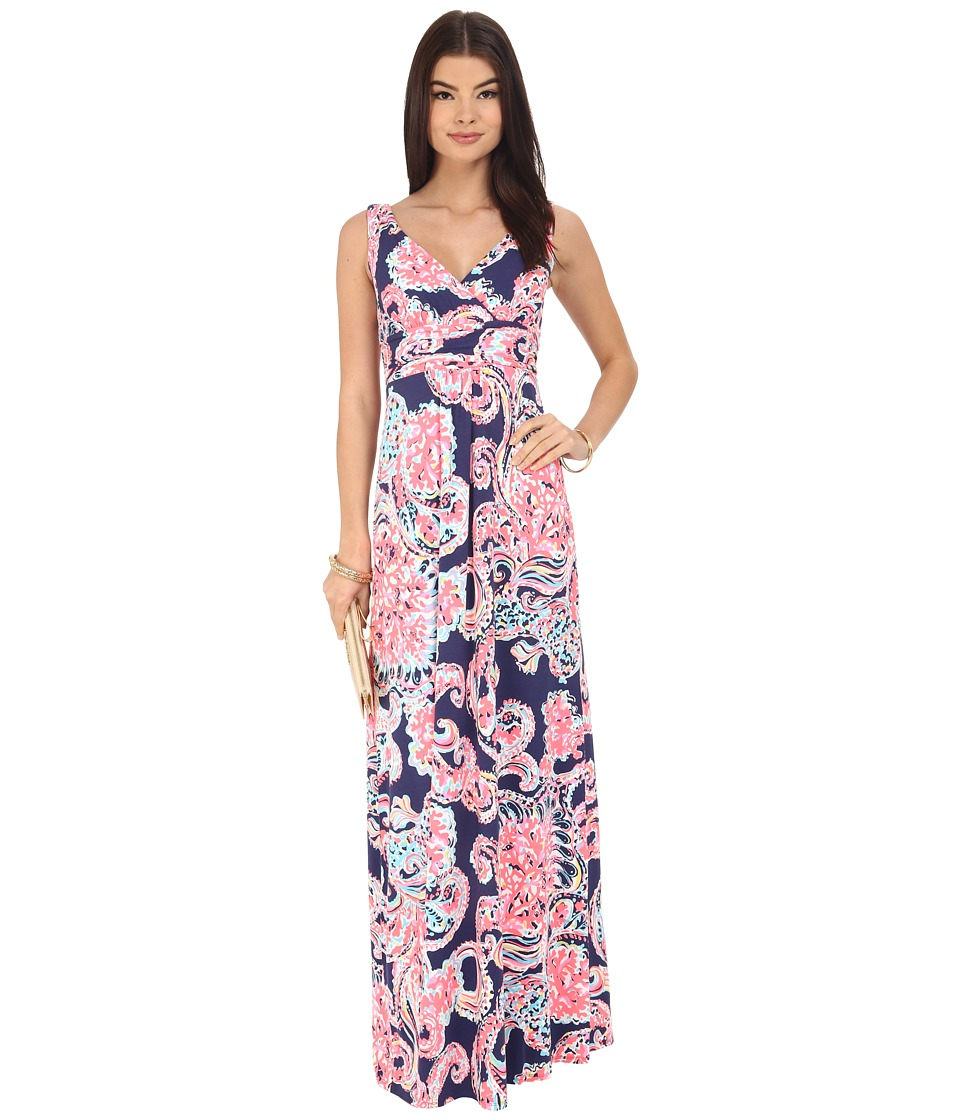 Lilly Pulitzer - Sloane Maxi Dress (Bright Navy Pop Up For The Halibut) Women's Dress
