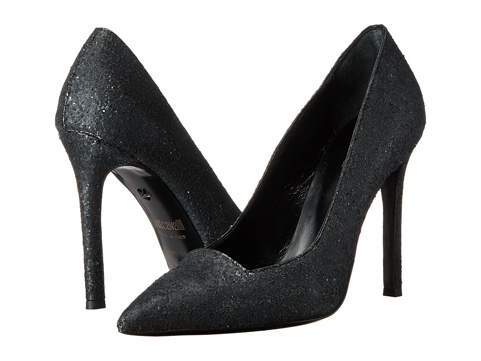 Just Cavalli Pointed Toe Pump Glitter (Black) High Heels