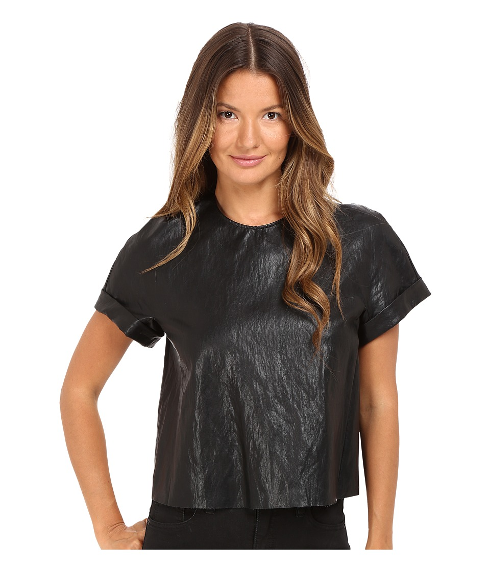 Just Cavalli - Eco-Leather Cropped T-Shirt (Black) Women's T Shirt
