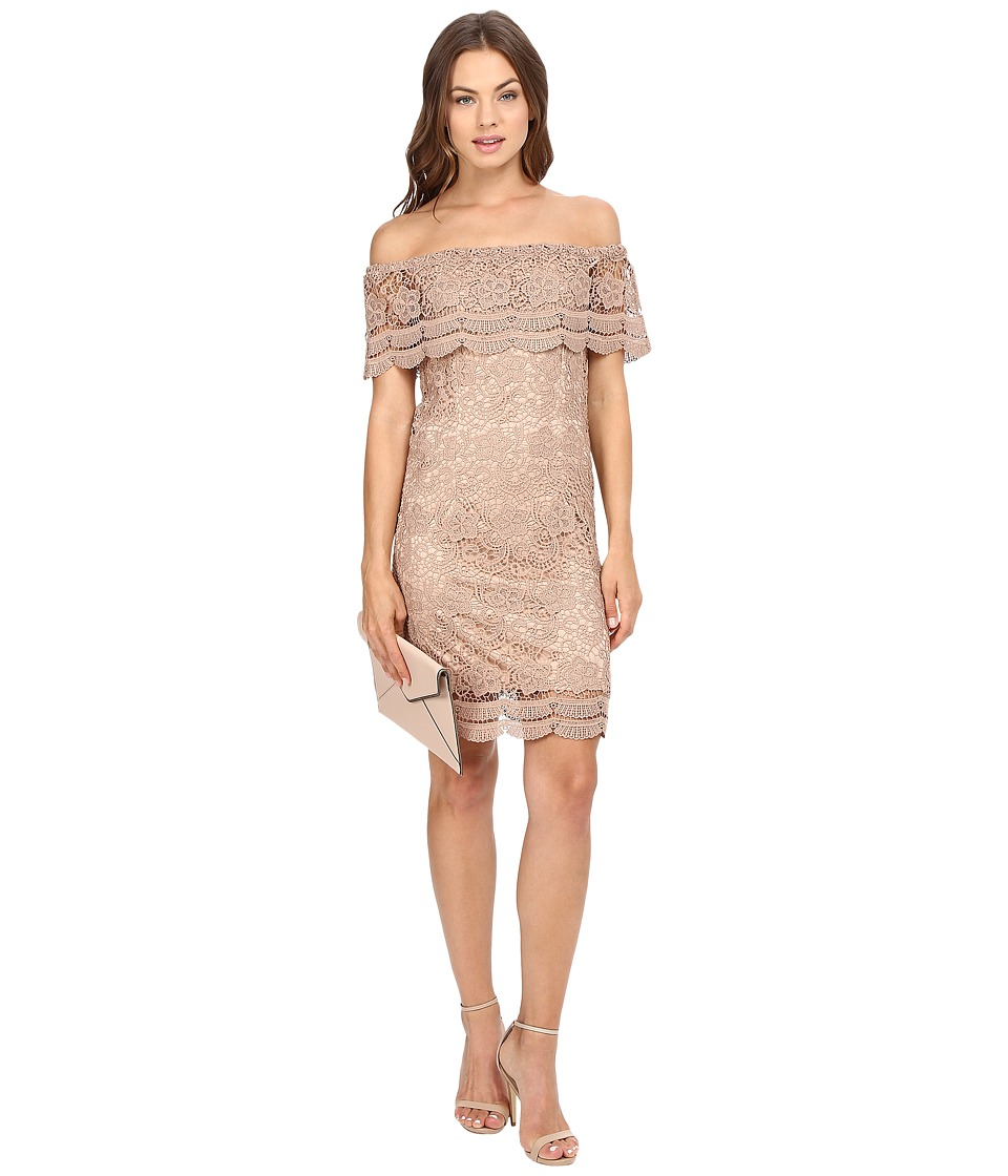 ONLY - Granada Off the Shoulder Woven Lace Dress (Warm Taupe) Women's Dress