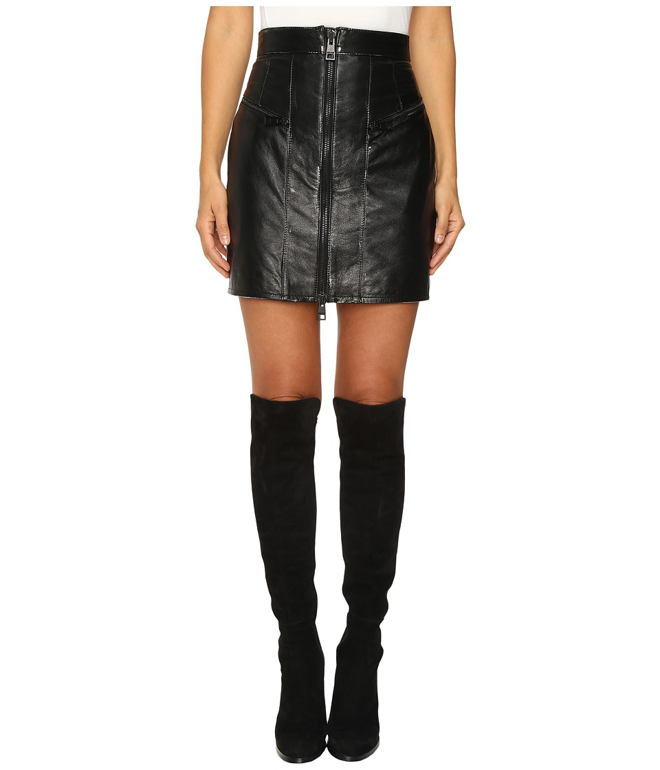Just Cavalli - Leather Mini Skirt w/ Metallic Finish (Black) Women's Skirt