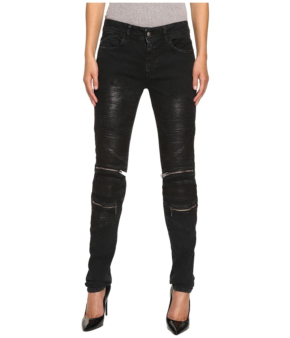 Just Cavalli - Distressed Coated Zip Detail Skinny Jeans (Black) Women's Jeans