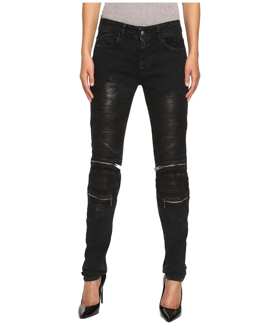 Just Cavalli - Distressed Coated Zip Detail Skinny Jeans (Black) Women's Jeans