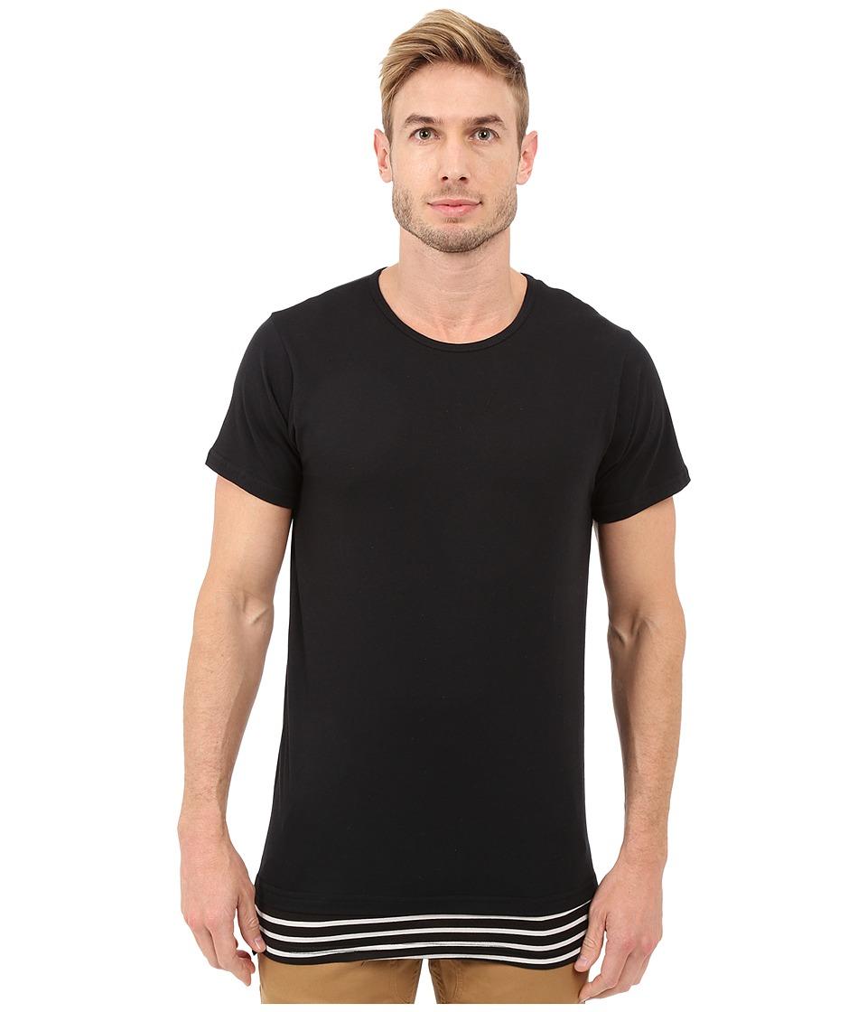 Rustic Dime - Layered Striped Long Tee (Black) Men's T Shirt