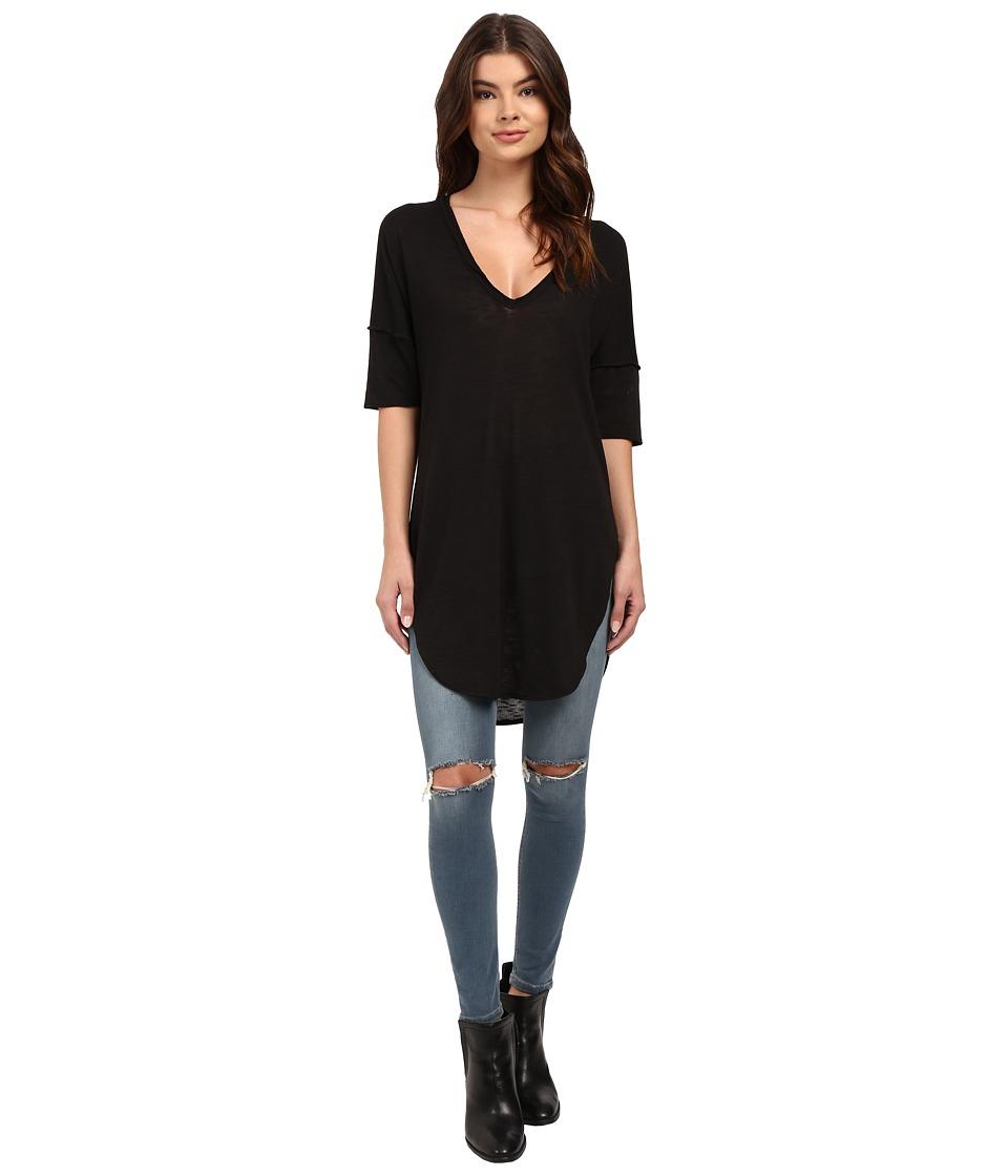 Lucy Love - V-Neck Tunic (Black) Women's Blouse