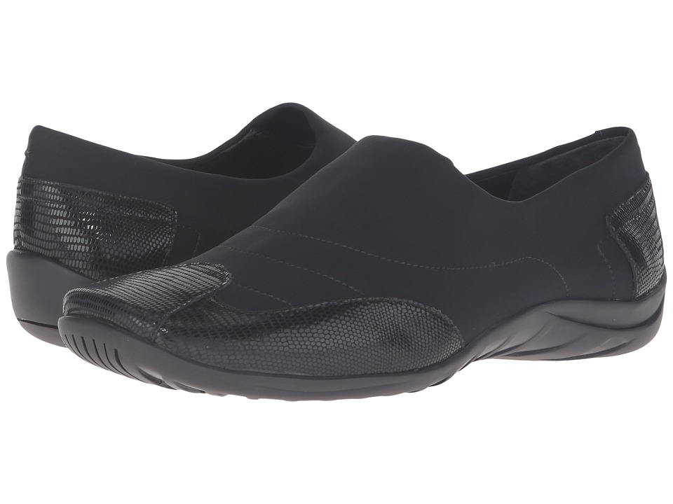 Walking Cradles - Almond (Black Stretch/Black Patent Lizard) Women's Shoes