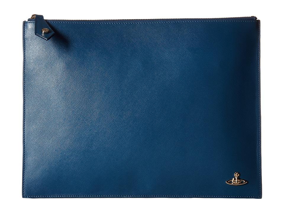 Vivienne Westwood - Opio Saffiano Pouch (Blue) Travel Pouch