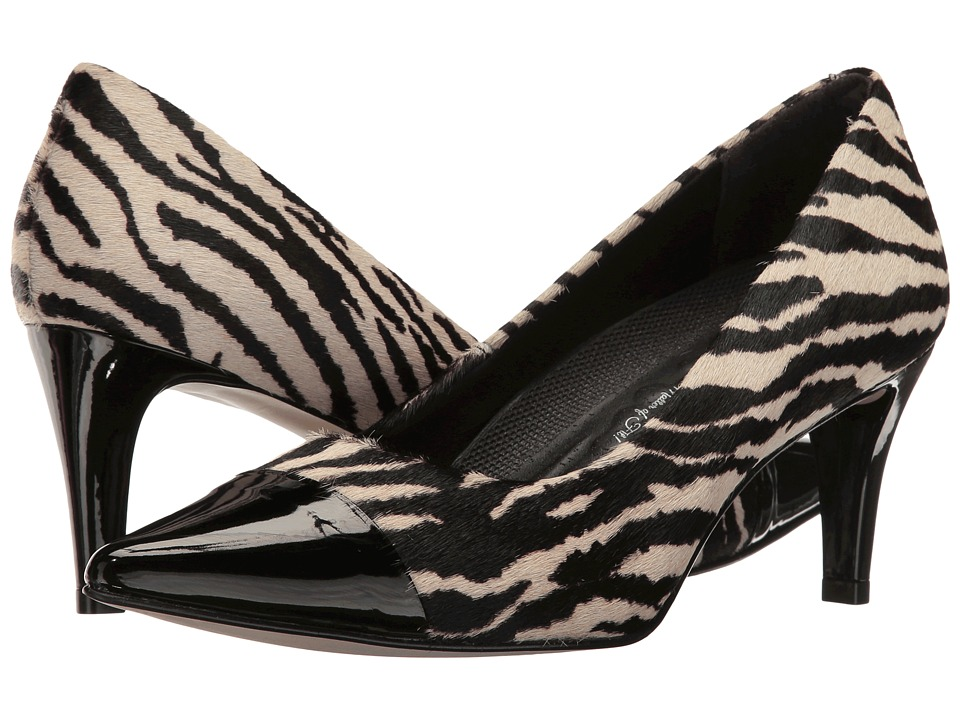 Walking Cradles Sophie (Zebra Haircalf/Black Patent) Women