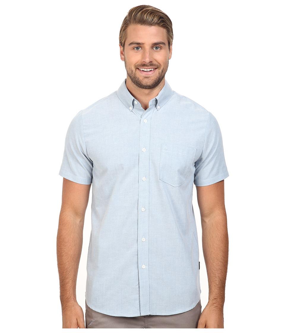 Volcom - Everett Oxford Short Sleeve Woven (Blue Fog) Men's Short Sleeve Button Up