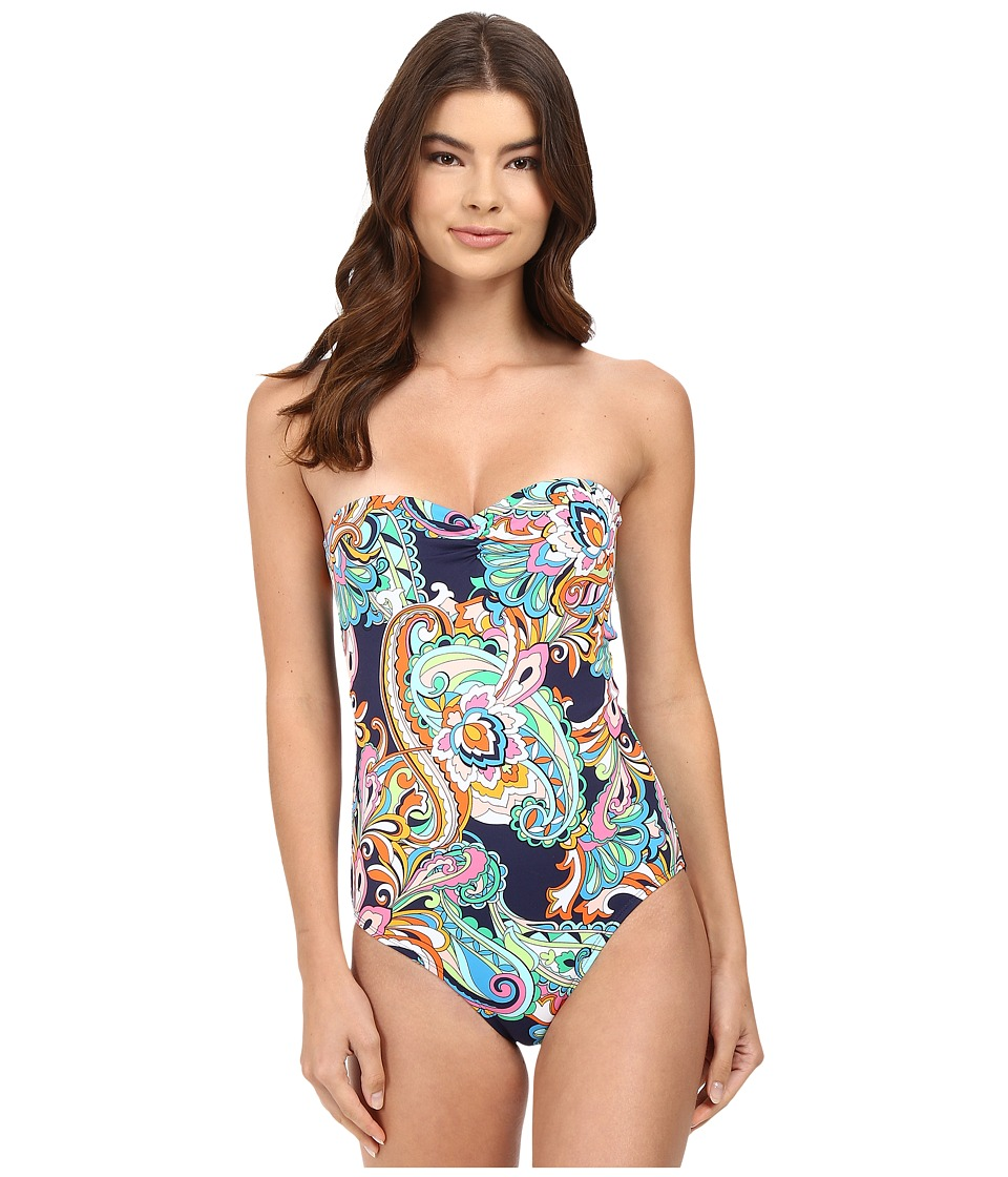 Tommy Bahama - Mare Paisley Bandeau One-Piece Swimsuit (Mare Navy) Women's Swimsuits One Piece