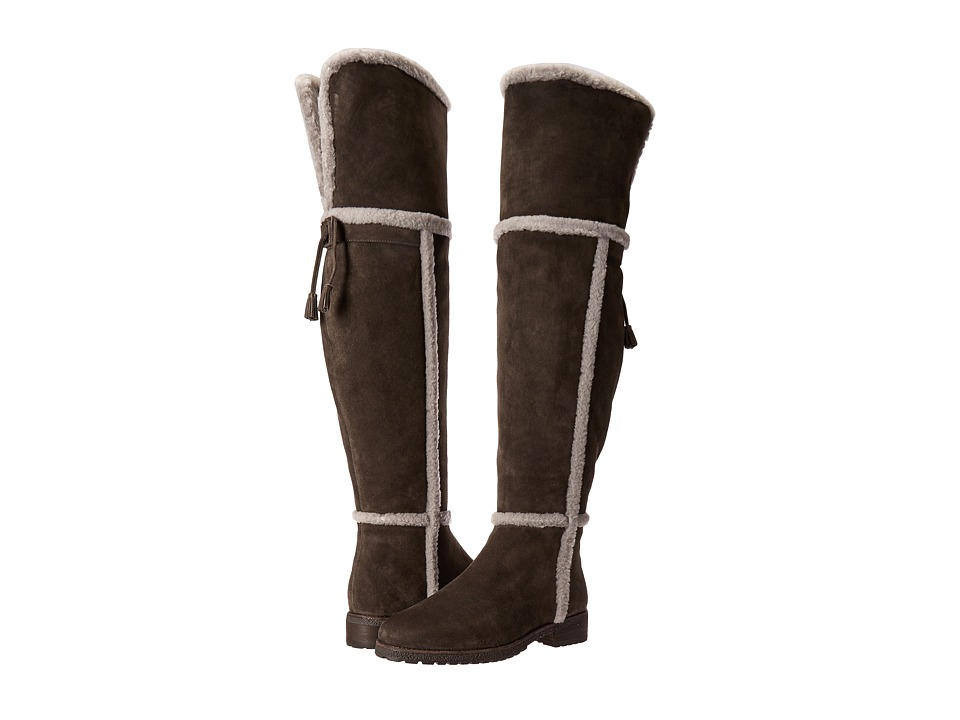 Frye - Tamara Shearling Over The Knee (Smoke Water Resistant Suede/Shearling) Women's Pull-on Boots