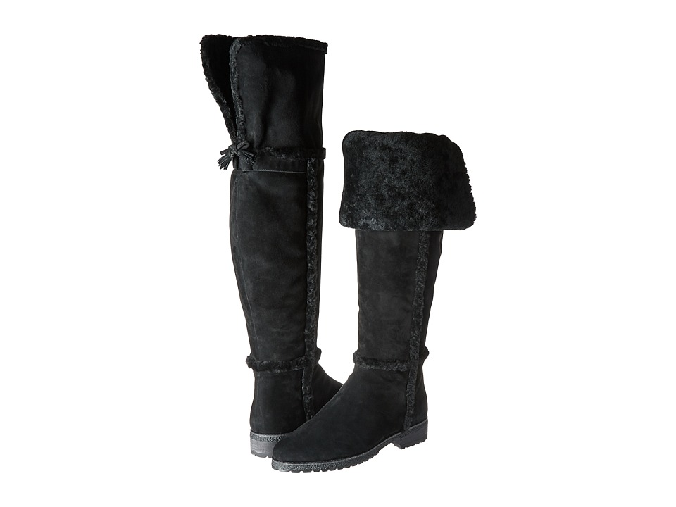 Frye Tamara Shearling Over The Knee (Black Water Resistant Suede/Shearling) Women