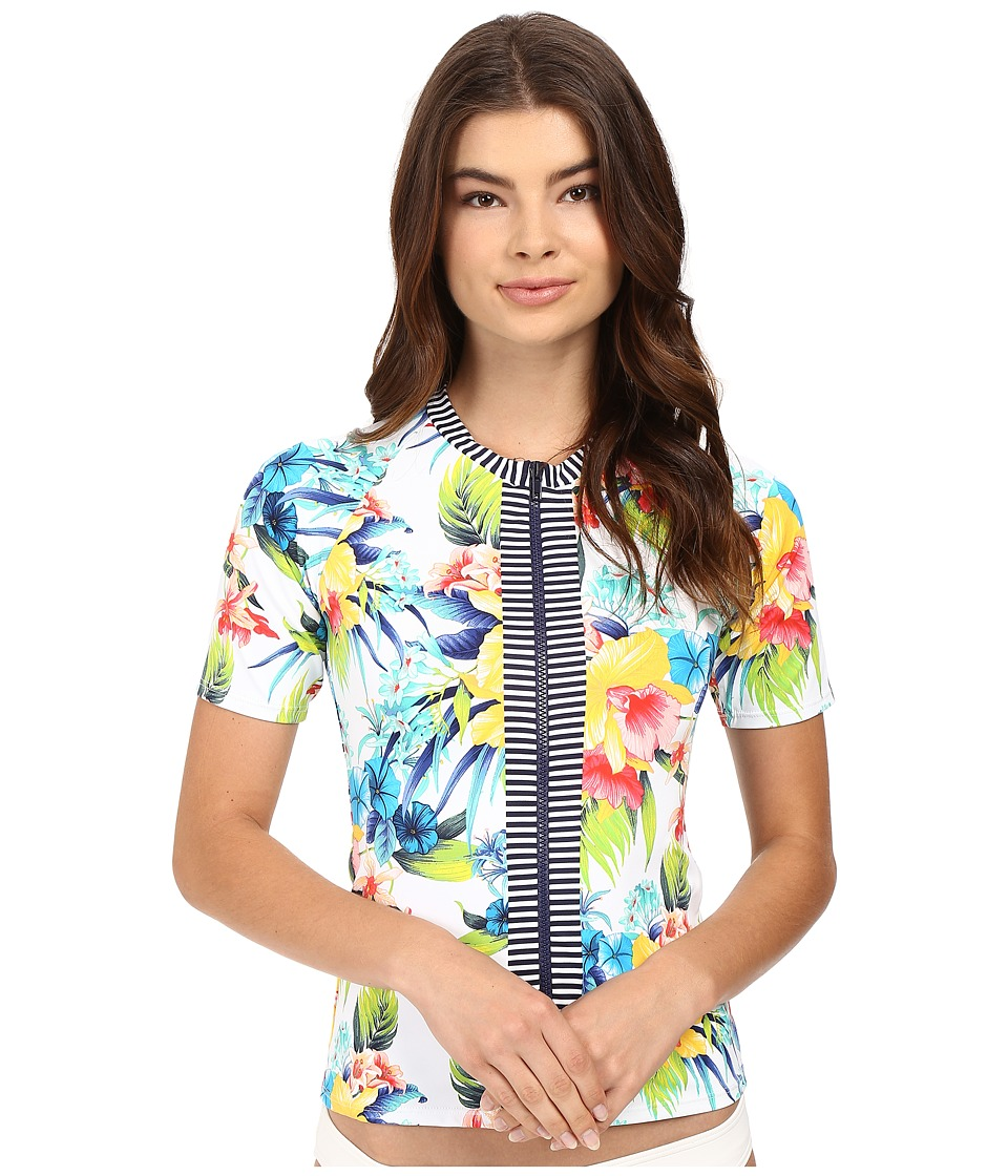Tommy Bahama - Fleur de Lite Short-Sleeve Full-Zip Rash Guard (Multicolor) Women's Swimwear