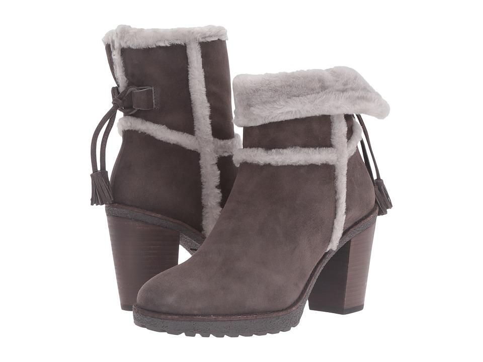 Frye - Jen Shearling Short (Smoke Water Resistant Suede/Shearling) Women's Dress Pull-on Boots