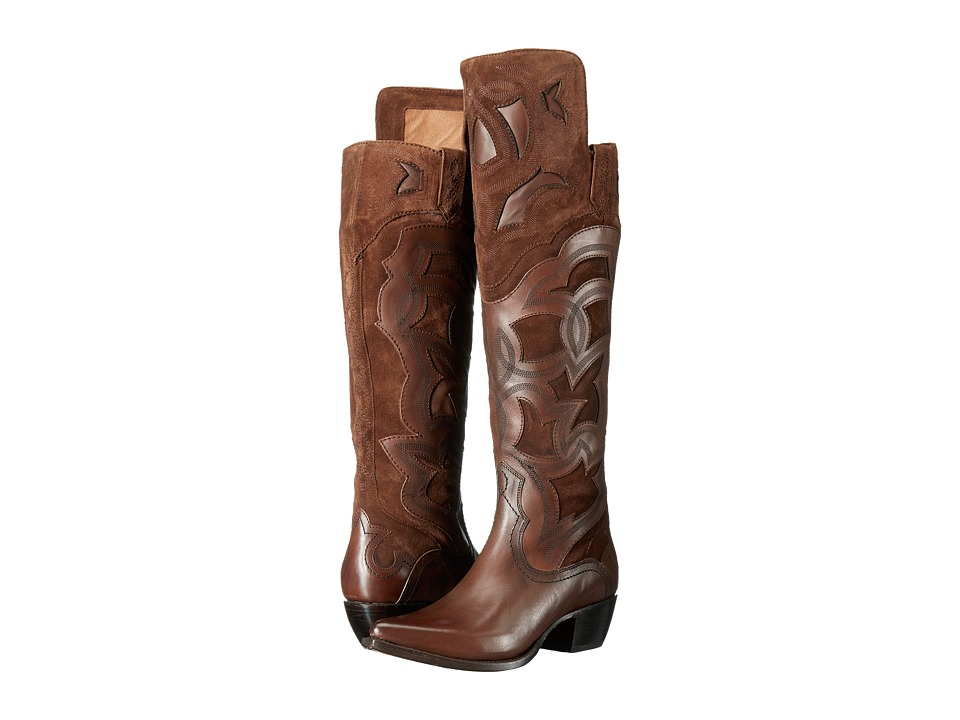 Frye Shane Embroidered Cuff Whiskey Smooth Veg Calf-Oiled Suede-Haircalf Cowboy Boots