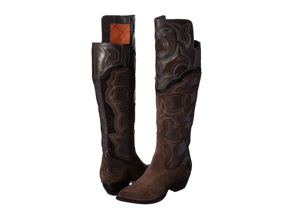 Frye Shane Embroidered Cuff Charcoal Smooth Veg Calf-Oiled Suede-Haircalf Cowboy Boots
