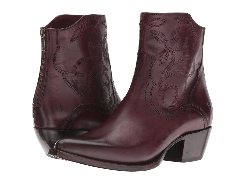Frye - Shane Embroidered Short (Bordeaux Smooth Veg Calf) Cowboy Boots