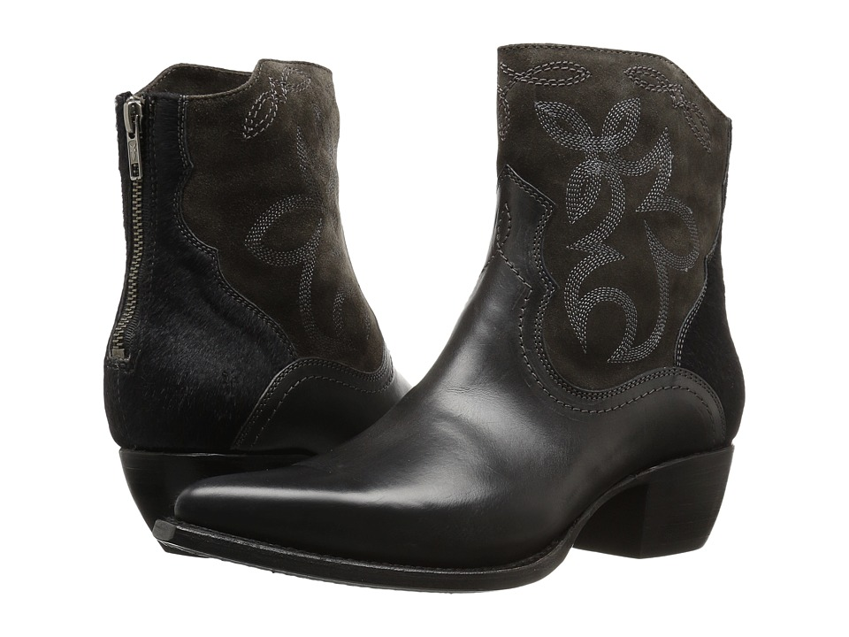 Frye Shane Embroidered Short Charcoal Smooth Veg Calf-Oiled Suede-Haircalf Cowboy Boots
