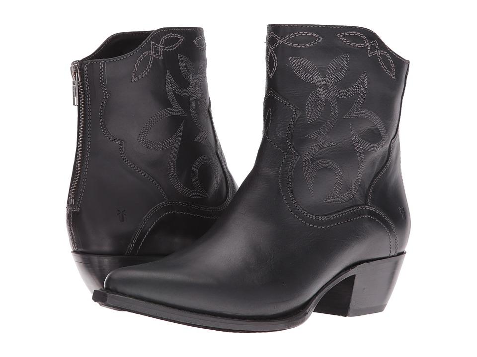 Frye Shane Embroidered Short (Black Smooth Veg Calf) Cowboy Boots