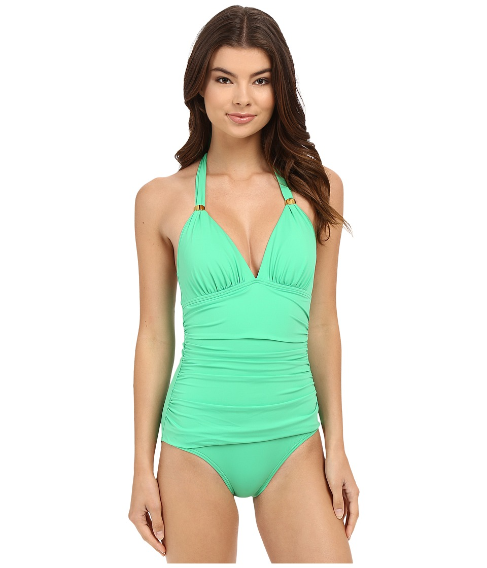 Tommy Bahama - Pearl Halter Cup One-Piece (Clearwater Green) Women's Swimsuits One Piece