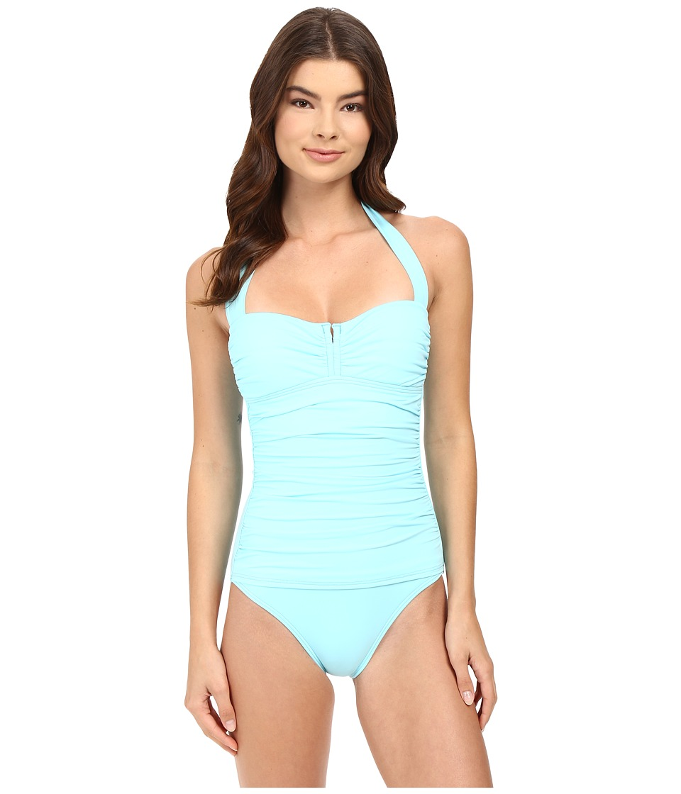 Tommy Bahama - Pearl V-Front Halter Cup One-Piece (Swimming Pool Blue) Women's Swimsuits One Piece