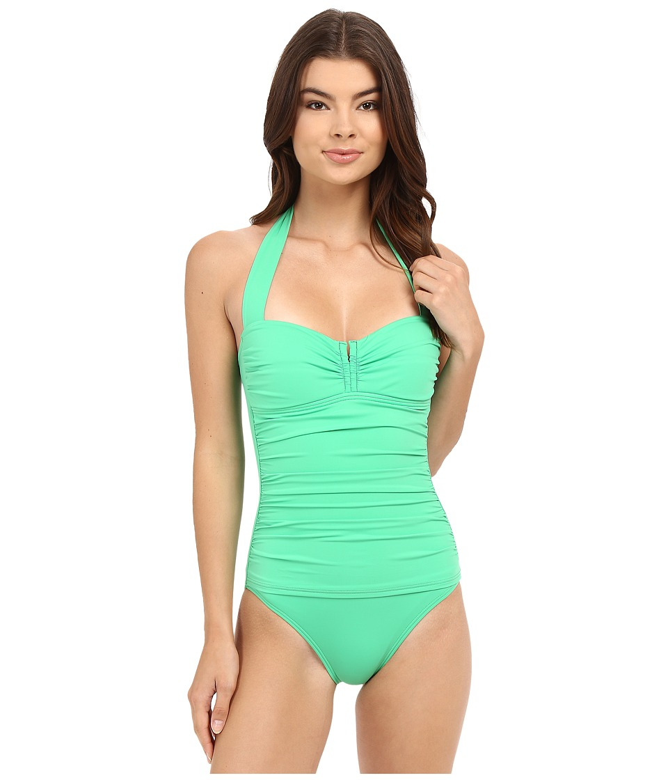 Tommy Bahama - Pearl V-Front Halter Cup One-Piece (Clearwater Green) Women's Swimsuits One Piece
