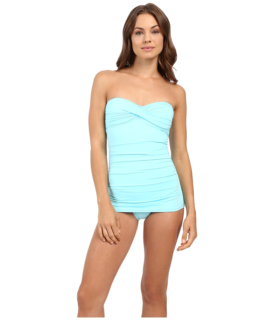 Tommy Bahama - Pearl Twist Front Bandeau One-Piece (Swimming Pool Blue) Women's Swimsuits One Piece