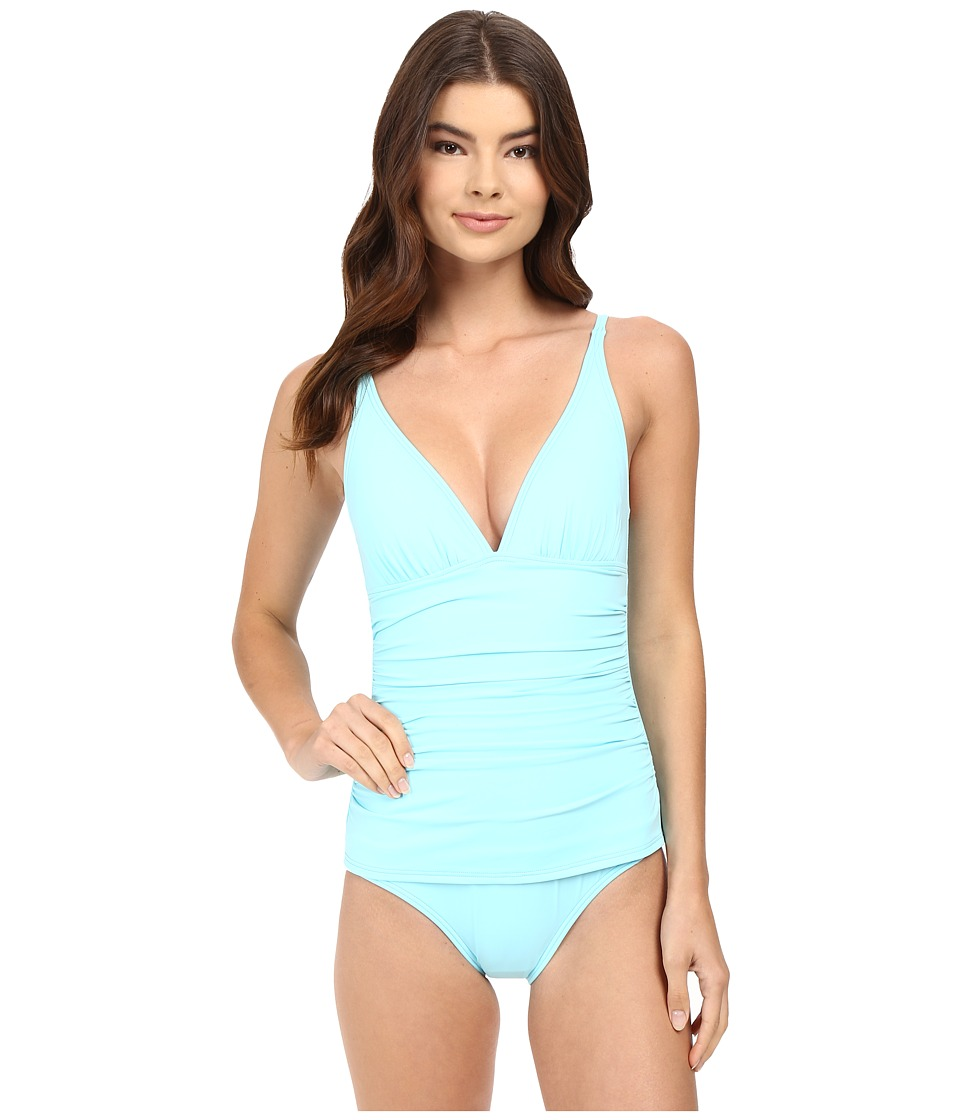 Tommy Bahama - Pearl OTS V-Neck Cup One-Piece (Swimming Pool Blue) Women's Swimsuits One Piece
