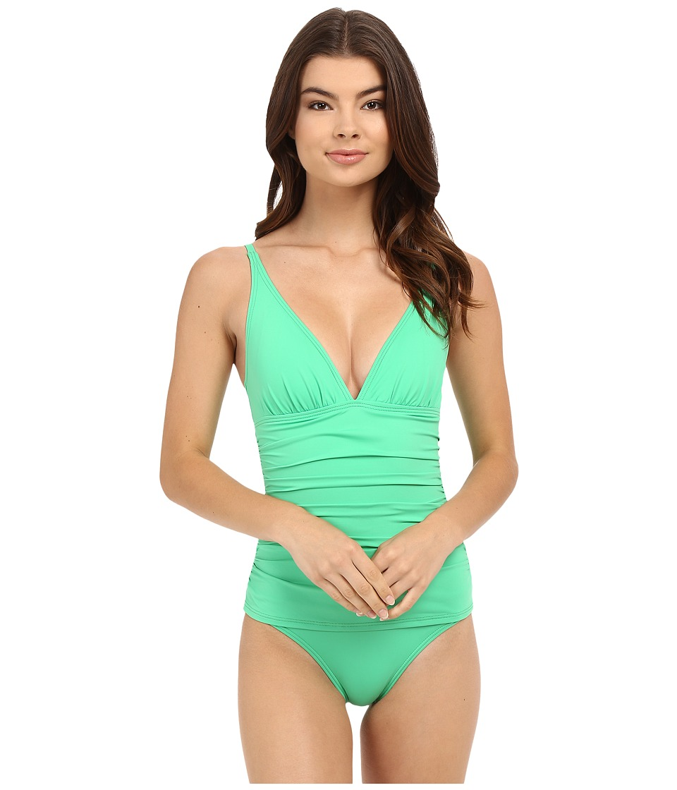 Tommy Bahama - Pearl OTS V-Neck Cup One-Piece (Clearwater Green) Women's Swimsuits One Piece