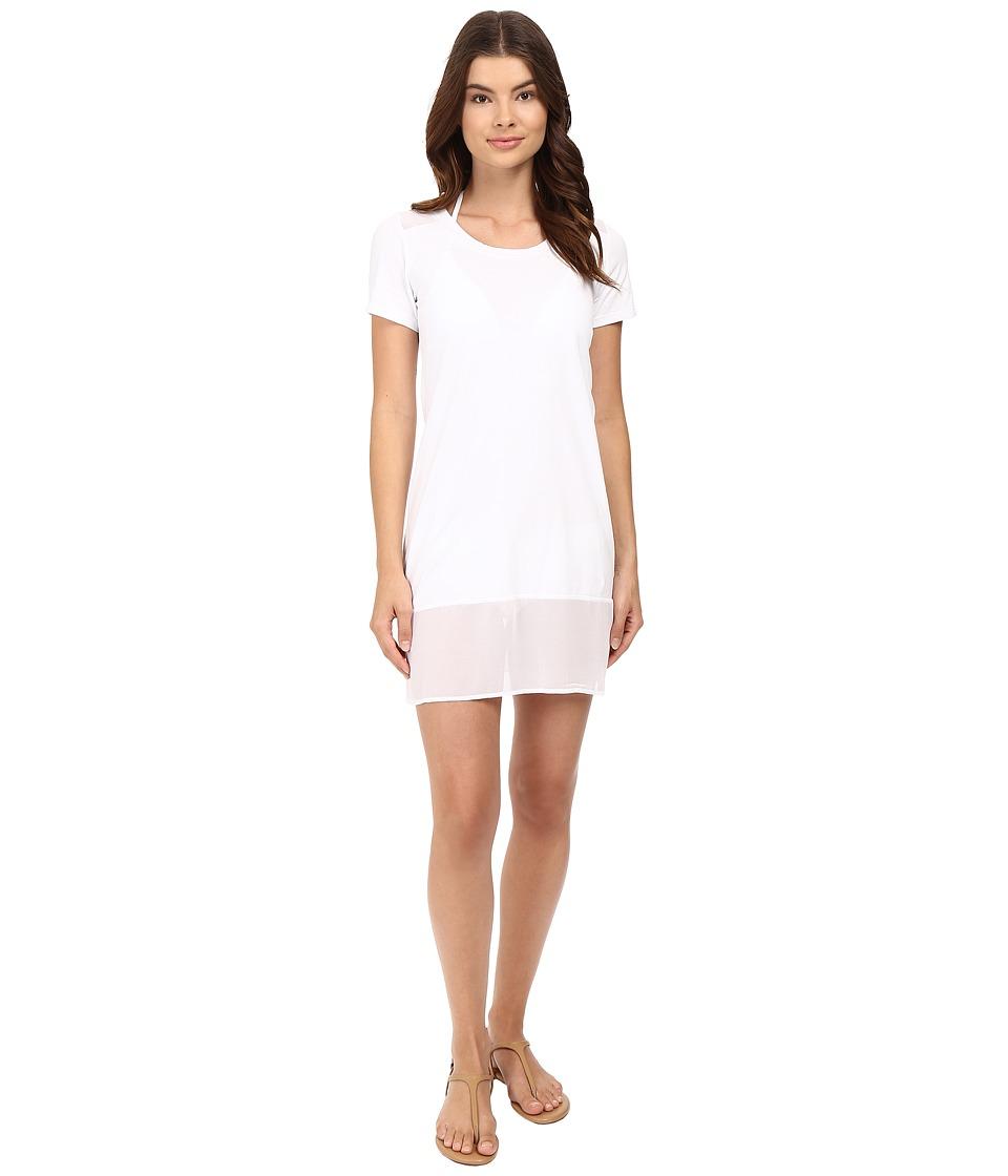 Tommy Bahama - Knit Chiffon T-Shirt Dress Cover-Up (White) Women's Swimwear