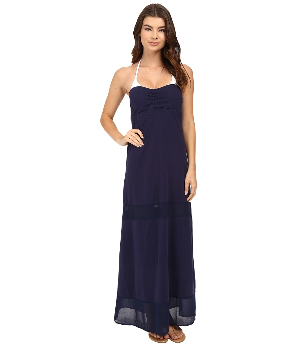 Tommy Bahama - Knit Chiffon Long Bandeau Dress Cover-Up (Mare Navy) Women's Swimwear