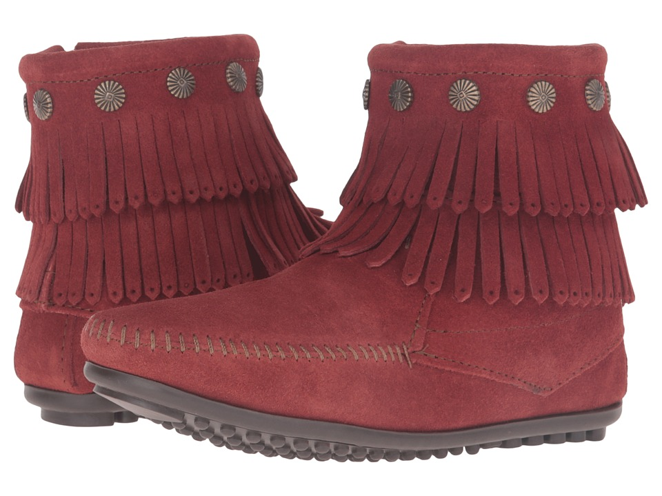 Minnetonka - Double Fringe Side Zip (Brandy Suede) Women's Shoes