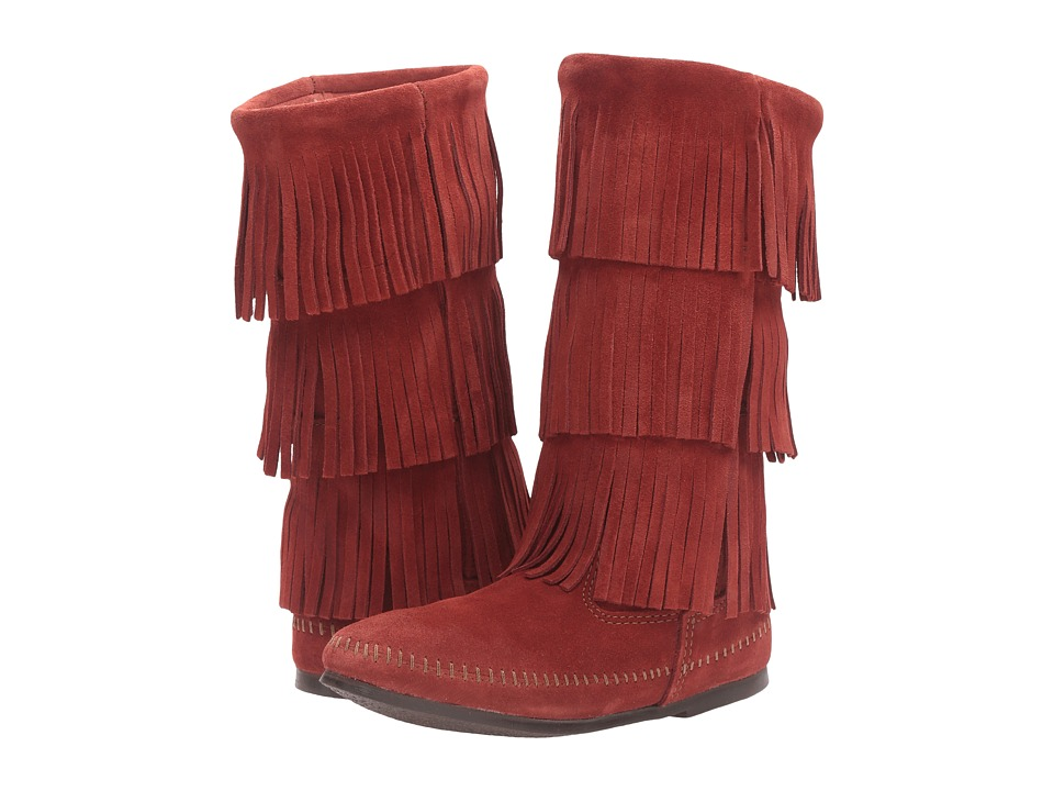 Minnetonka - 3 Layer Fringe Boot (Brandy Suede) Women's Pull-on Boots