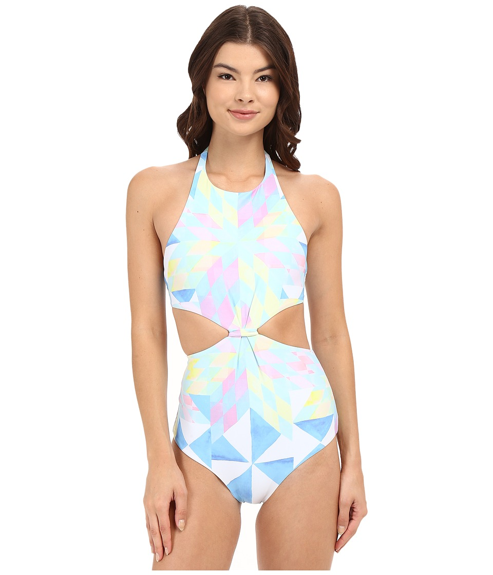 Mara Hoffman - Fractals Knot Front One-Piece (White Multi) Women's Swimsuits One Piece