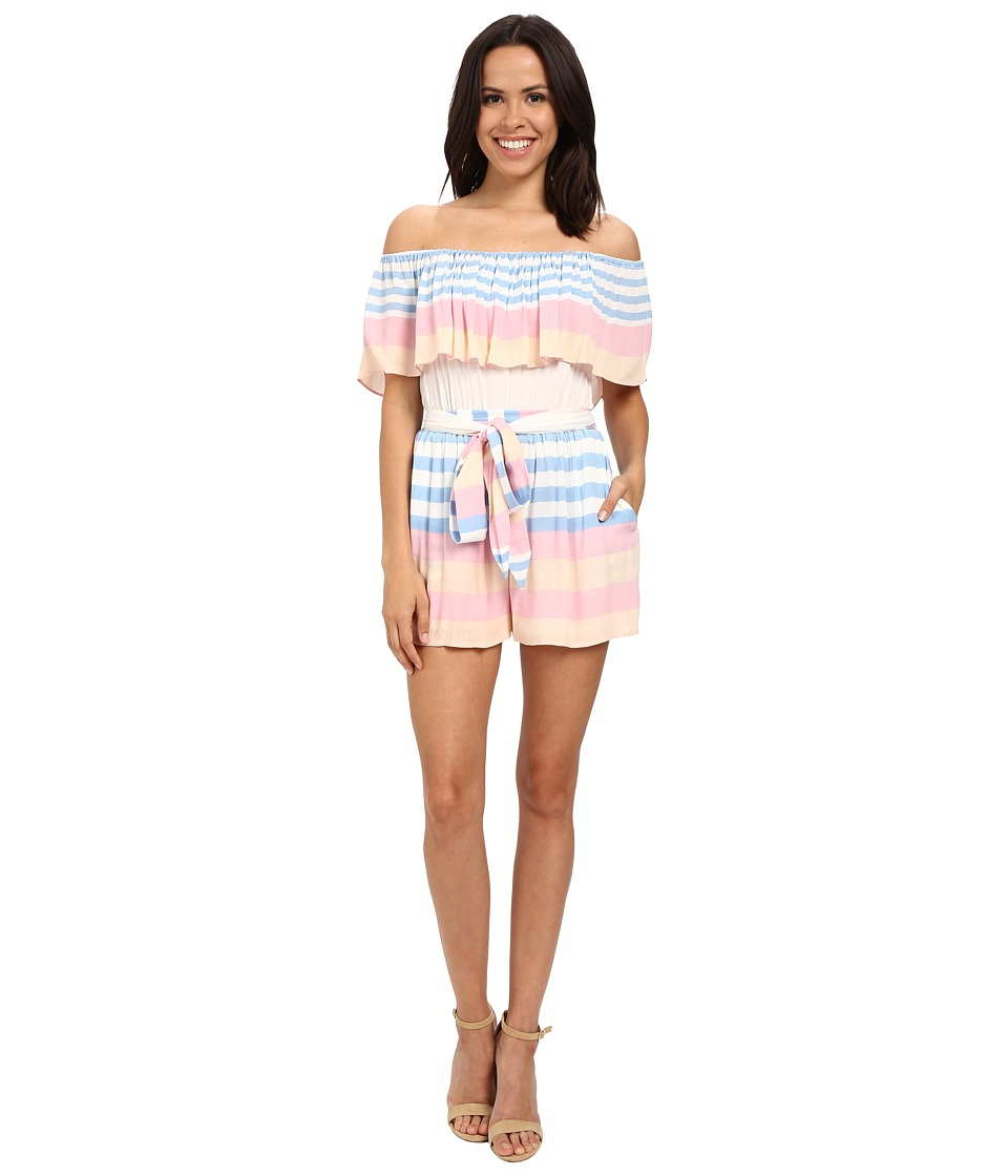 Mara Hoffman - Crinkle Crepe Off The Shoulder Romper (Field Stripe) Women's Jumpsuit & Rompers One Piece
