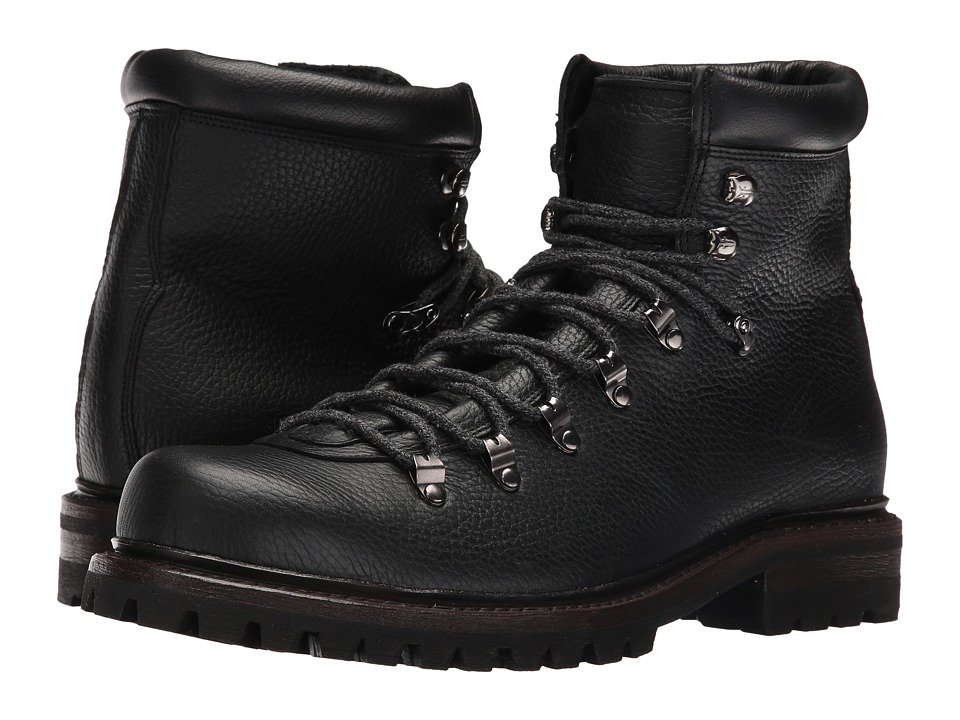 Frye - Wyoming Hiker (Black WP Waxed Pebbled Leather/Soft Vintage Leather) Men's Lace-up Boots