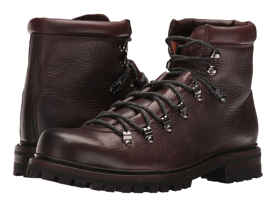Frye - Wyoming Hiker (Dark Brown WP Waxed Pebbled Leather/Soft Vintage Leather) Men's Lace-up Boots